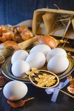 Onion husks and eggs Stock Images