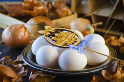 Onion husks and eggs Stock Photography