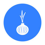 Onion icon black. Singe vegetables icon from the eco food black. Stock Image