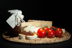 Onion jam with cheese Royalty Free Stock Photography