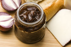 Onion jam in jar Royalty Free Stock Image