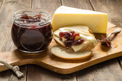 Onion jam, white bread and cheese Royalty Free Stock Photo