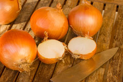 Onion  with knife on wooden table Royalty Free Stock Image
