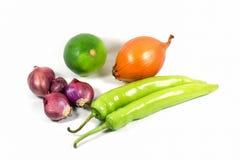 Fresh Onion, Lemon, Chili Pepper. Onion, Lemon, Chili Pepper on white background Royalty Free Stock Photo