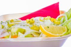 Onion lemon and cucumber in salad Stock Photo