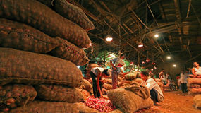 Onion Market. Sellers and buyers are dealing in a wholesale stock market in Kolkata, India. Due to uncontrolled distribution and stock the price of onion rises 3 Royalty Free Stock Photo