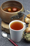Onion medicine tea with herbs. Onion medicine tea good for coughing Stock Photo