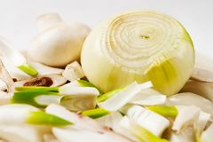 Onion and mushroom Royalty Free Stock Photography