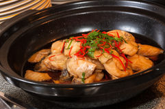 Onion Oil Steamed Fish Stock Image
