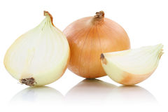 Onion onions slice slices vegetable isolated on white Royalty Free Stock Photos