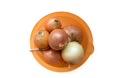 Onion in an orange bowl Stock Photo