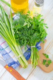 Onion and other greens Royalty Free Stock Images