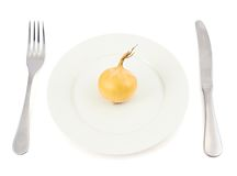 Onion over dish plate Royalty Free Stock Photography