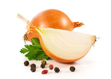 Onion and  parsley leaves Stock Photo