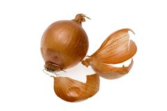 Onion and peel Royalty Free Stock Photography