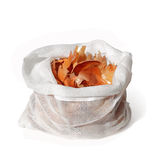Onion peel in bag on white Stock Photos