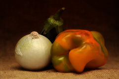 Onion, pepper, eggplant Stock Photography