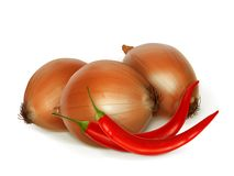 Onion and peppers, folk medicine vector illustration Royalty Free Stock Photo