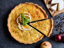 Onion Quiche with Camembert, leek and eggs. French Quiche with onion, Camembert, leek and eggs filling Royalty Free Stock Photos
