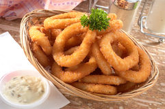 Onion Ring. Snacks with mayonnaise Stock Image