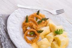 Onion ring white potato dumpling Royalty Free Stock Photos