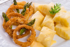 Onion ring white potato dumpling Royalty Free Stock Images