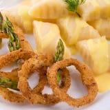 Onion ring white potato dumpling Stock Photography