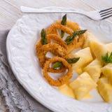 Onion ring white potato dumpling Stock Photos