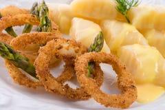 Onion ring white potato dumpling Royalty Free Stock Photography