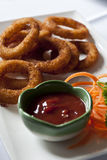 Onion rings. Delicious onion rings with ketchup Royalty Free Stock Photo