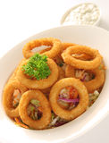 Onion Rings. Served on a bed of coleslaw salad and tartar sauce Royalty Free Stock Photography