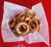Onion Rings. A basket of onion rings stock photography