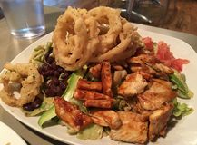 Onion rings with BBQ Chicken Salad. A plate full of food, BBQ chicken and onion rings on top of a salad stock images
