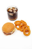 Onion rings ,burger and drink Royalty Free Stock Image