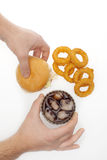 Onion rings ,burger and drink Royalty Free Stock Photography