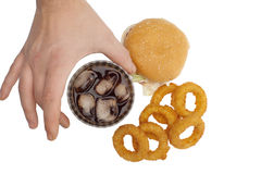 Onion rings ,burger and drink Stock Photo