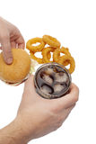 Onion rings ,burger and drink Stock Image