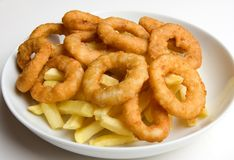 Onion Rings and French Fries Stock Photo