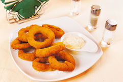Onion rings fried in batter Stock Images