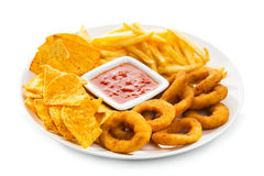 Onion rings, fries and nachos Stock Image
