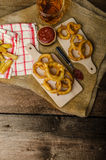 Onion rings, hot dip, french fries and Czech beer Royalty Free Stock Images