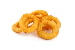 Onion rings. Isolated on white background Royalty Free Stock Image