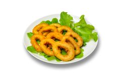 Onion rings with lettuce on a plate on a white background. Onion rings with lettuce on a plate. White background Stock Images