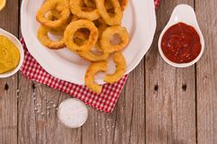 Onion rings. Onion rings with ketchup on white dish royalty free stock photography