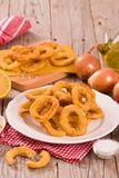Onion rings. Onion rings with ketchup on white dish stock images