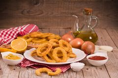 Onion rings. Onion rings with ketchup on white dish stock photos