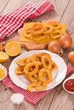 Onion rings. Onion rings on white dish stock photos