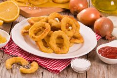 Onion rings. Onion rings on white dish royalty free stock photography