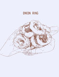 Onion rings on paper wrap in basket, Hand drawn Highly detail il. Lutration vector Stock Photos