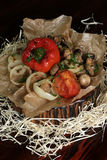 Onion rings, pepper and mushrooms barbecue. Vegetables cooked on a grill, pepper, mushrooms, onions, tomato Stock Images